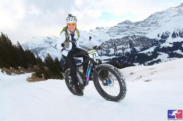 Matt Lapointe in the snow on his fat bike