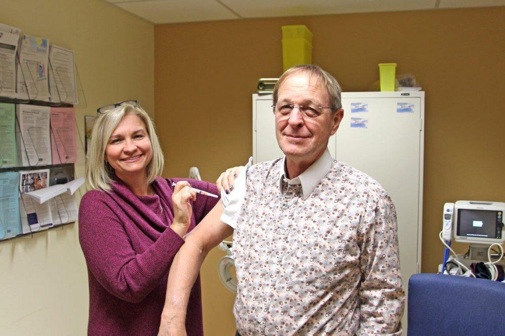 Jean Bartkowiak gets his flu shot