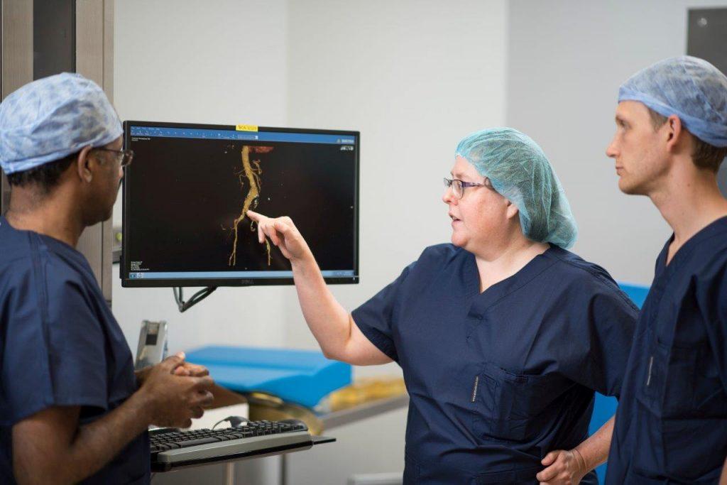 one of three vascular surgeons